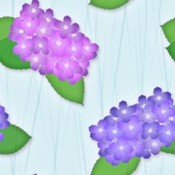 アジサイと雨がモチーフのパターン