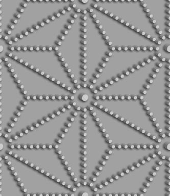 立体的な点線からなる麻の葉文様のパターン