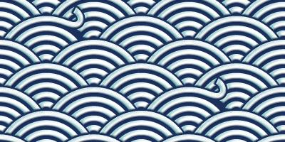 ペロッとめくれた部分がある青海波のパターン